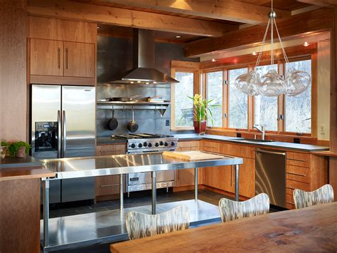 wood and stainless steel kitchen island how to apply a stainless steel kitchen island and wood cabinets