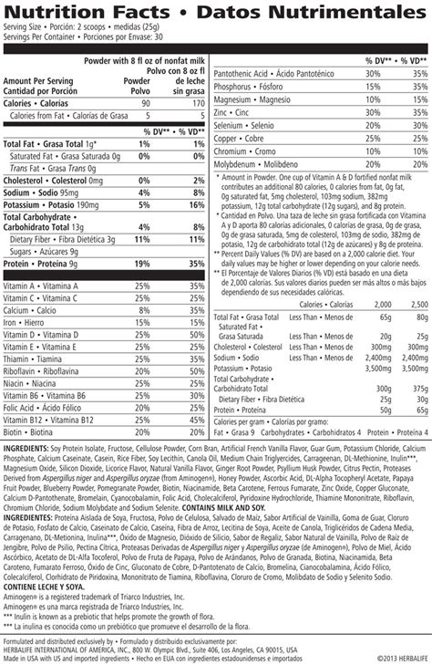 herbalife f1 nutritional information nutrition ftempo