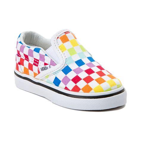 colorful vans toddler vans slip on rainbow chex skate shoe multi