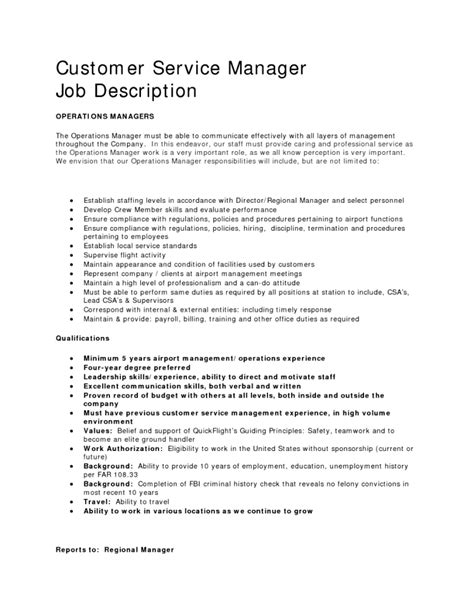 customer service manager description for resume 28 images customer service manager resume