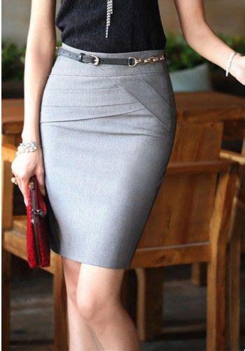 198 office skirt grey debbie fashion design