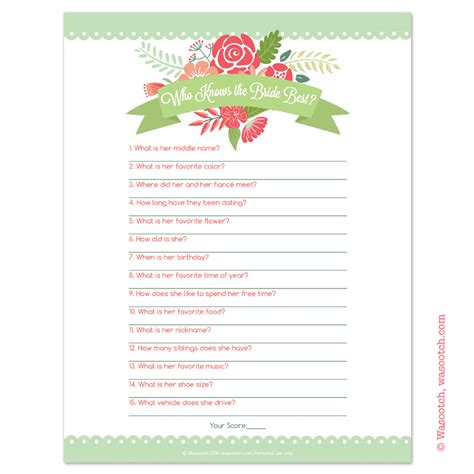 Instant Downloadable Bridal Shower Games that You Can