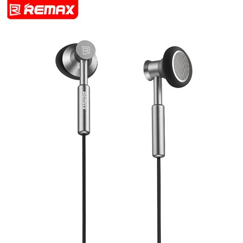 Murah Remax Earphone With Mic 3 5mm remax 3 5mm metal earphone headset stereo bass in ear headsets micphone mobile phone mp3 pc for