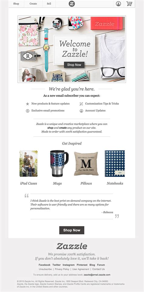 email zazzle zazzle welcome email html email gallery