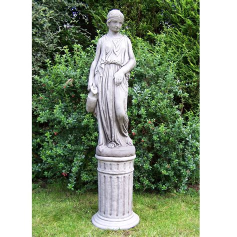 large jug girl garden statue on column onefold uk