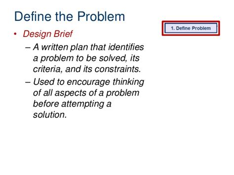 design brief with specifications and constraints design process2013