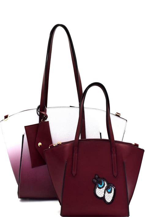 Tas Wanita Totte Bag Set 3in1 ej1294p wine eye accent ombre 3 in 1 shopper tote set