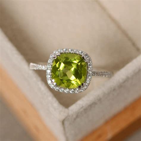 Peridot Engagement Rings by Peridot Engagement Ring Sterling Silver Cushion Cut Peridot