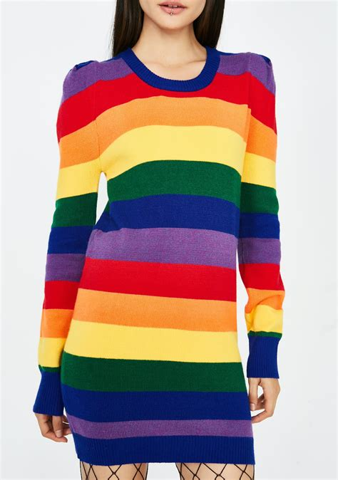 Rainbow Sweater rainbow sweater dress dolls kill