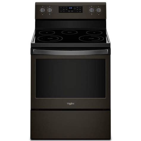 shop whirlpool 5 burner freestanding self cleaning electric range black stainless common 30