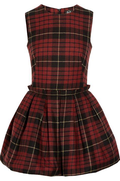 Tartan Dress mcq by mcqueen tartan wool puffball mini dress in lyst