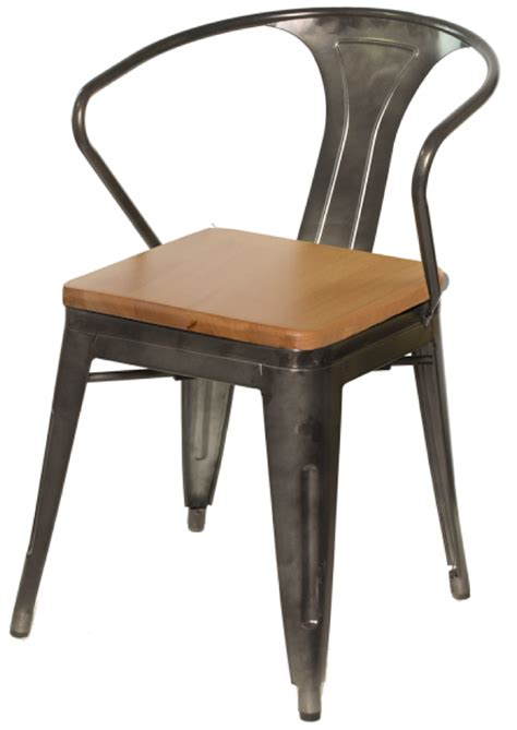 Galvanized Bistro Chair Tabouret Tolix Replica Gunmetal Galvanized Steel Restaurant Arm Chair Wood Seat Tabouret