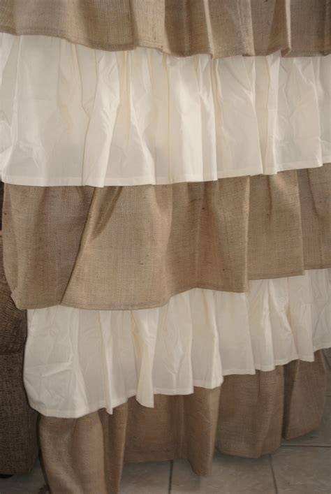 burlap ruffle curtains burlap and cotton ruffled curtain 120 00 via etsy