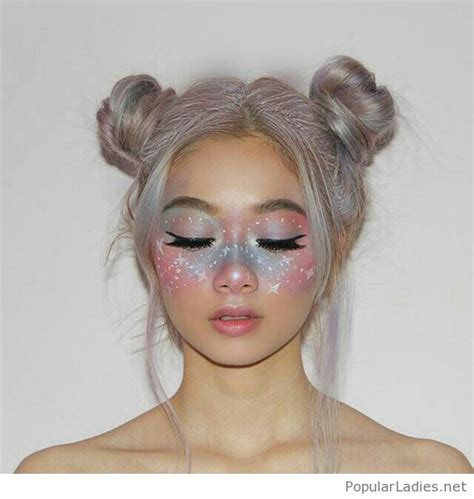 Two Buns Hairstyle Hair by Silver Hair Two Buns And Galaxy Make Up