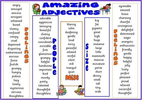 adjective list list of adjectives