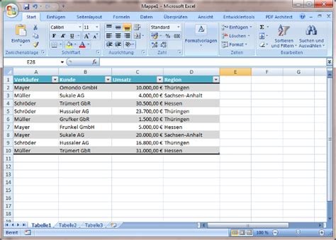 excell tabelle pivot tabelle in excel erstellen