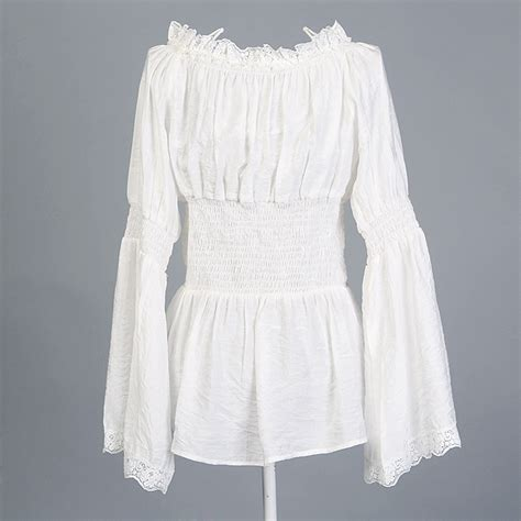 Blouse Blus Atasan Pakaian Wanita White Embr L 345099 plus ukuran perempuan pakaian desain yang unik retro 70 an peplum tencel katun renda blus