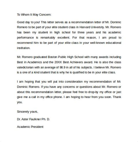 Recommendation Letter Format For Student recommendation letter 8 sles exles formats