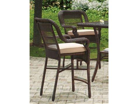 hton bay outdoor bar stools south sea rattan montego bay wicker cushion arm bar stool