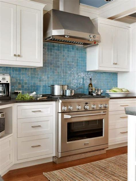 blue tile kitchen backsplash we love home decor pinterest