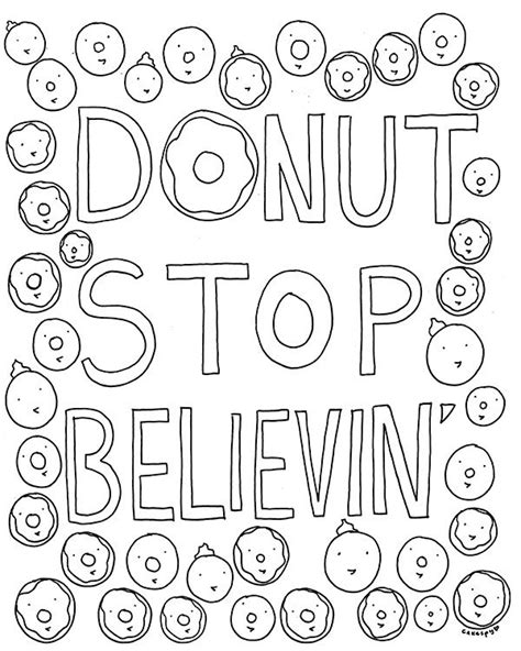 coloring book page  grown ups donut stop believin