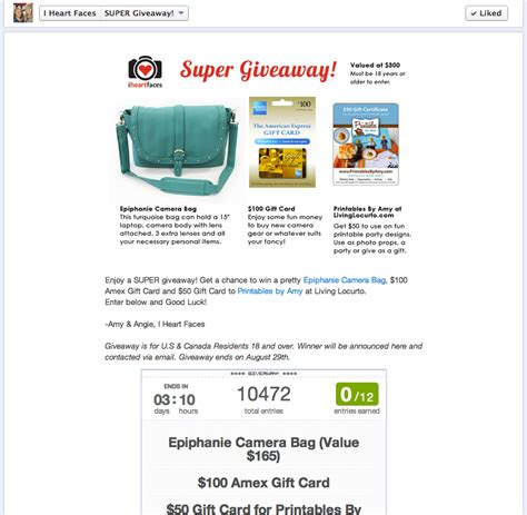 Giveaway Rafflecopter - visually appealing facebook promotions rafflecopter