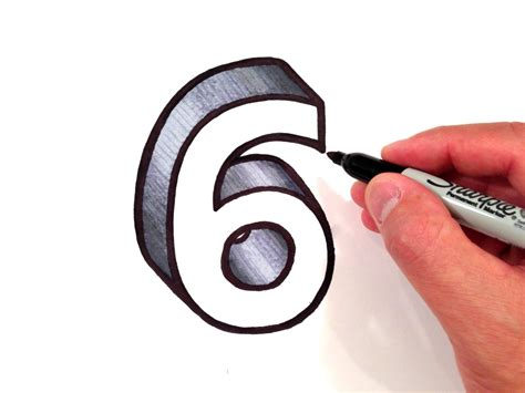 draw 3d how to draw the number 6 in 3d