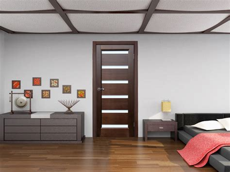 Bedroom Door Dark Wenge With Frosted Glass Contemporary Interior Bedroom Doors With Glass