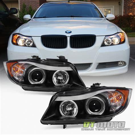 bmw e90 headlights blk 2006 2007 2008 bmw e90 3 series sedan led eye lid halo