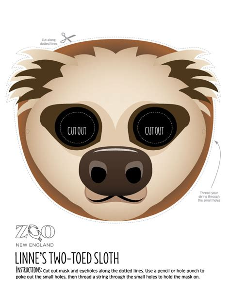 sloth mask template sloth mask zoo new