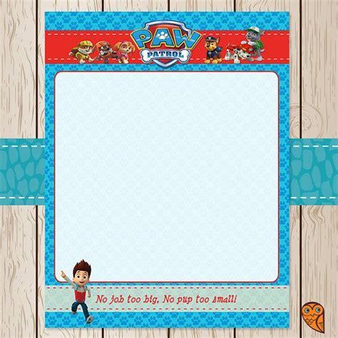 Printable Paw Patrol Stationery Paper Blank By Brightowlcreatives 1 00 Birthday Parties Paw Patrol Invitation Template Blank