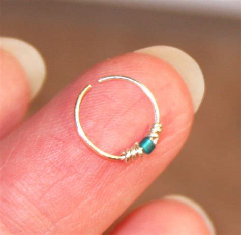 beaded nose ring extremely thin small nose ring teal beaded nose ring nose
