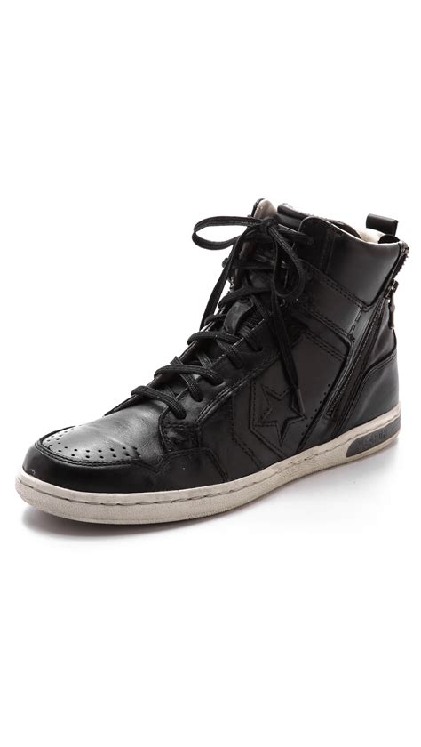 Converse Varvatos Weapon Denim Turtledove Zip lyst converse jv weapon zip high top sneakers in black