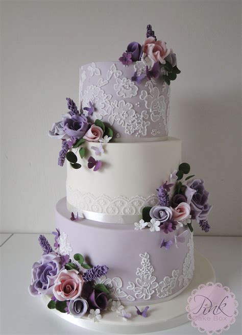 Wedding Cake Lavender by Lavender Lace And Flowers Wedding Cake Wedding Cakes By