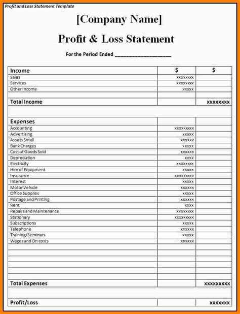 Restaurant Income Statement Template Excel by Restaurant P L Statement Template Restaurant Monthly Profit And Loss Statement Excel Income