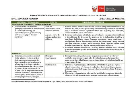 matriz de competencias y capacidades del nivel inicial 2015 matriz de indicadores para ciencia y ambiente primaria by