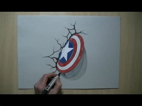Real Pic Tameng Captain America drawing 3d shield captain america trick