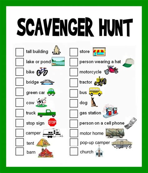 backyard scavenger hunt list scavenger hunt ideas lists and planning road trips