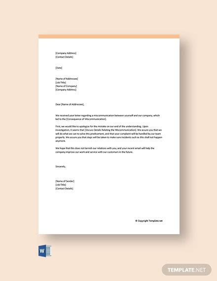 business apology letter miscommunication template