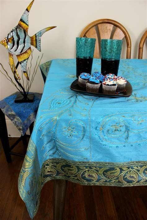 Ornamental Embroidered Floral Rectangular Tablecloth