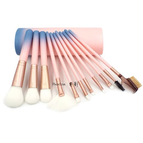 12pcs Professional Black Brushes Set professional 12pcs makeup brushes set powder blush contour brush cosmetic tools pink
