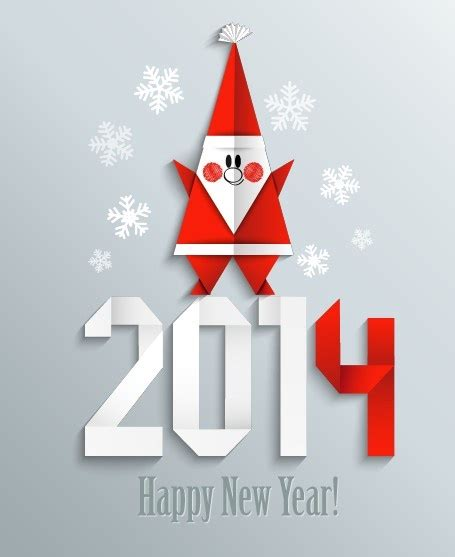 new year origami 2014 and new year origami greeting card vector