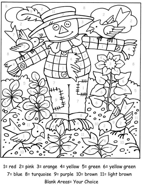 fall coloring pages color by number kids halloween printouts