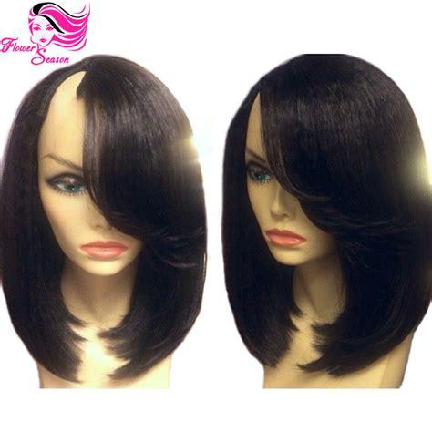 u part wigs for black women cheap virgin u part wig bob style yaki straight u part wig