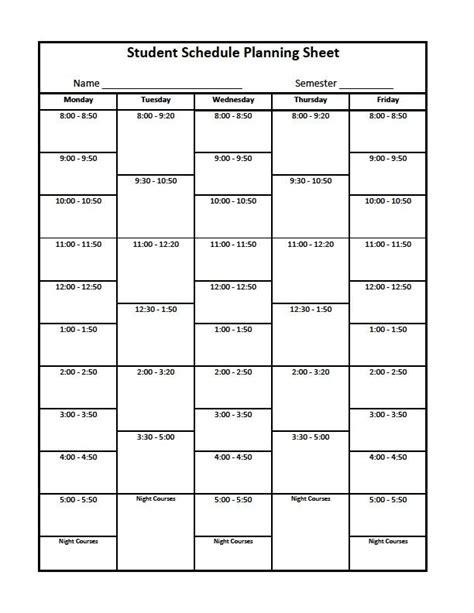 template class college class schedule template doliquid