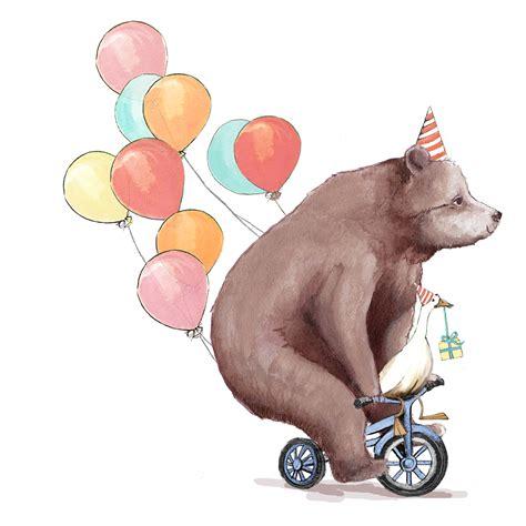 bear on a bike greeting cards katyhudsonillustration