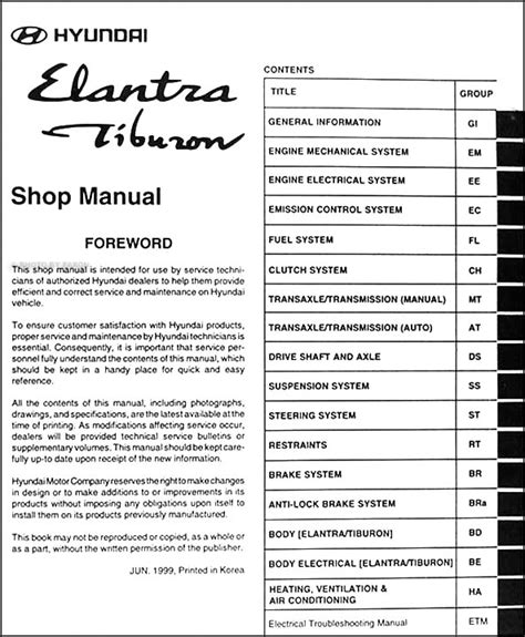 download car manuals 1998 hyundai elantra lane departure warning 2000 hyundai elantra and tiburon repair shop manual original