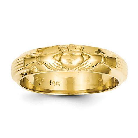 14k yellow gold mens claddagh ring qgc2125