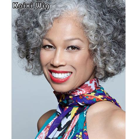 grey hair extensions for black women short curly gery wig short haircut for women grey ombre