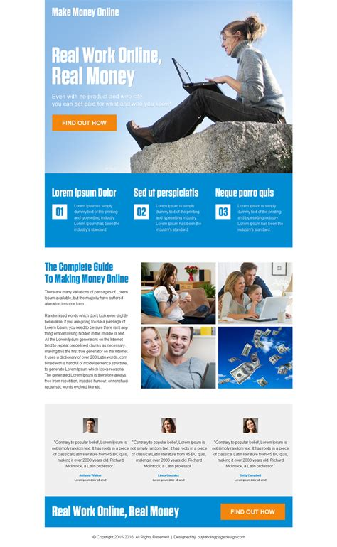 Make Money Online By Clicking - pay per click landing page design templates exle for conversion